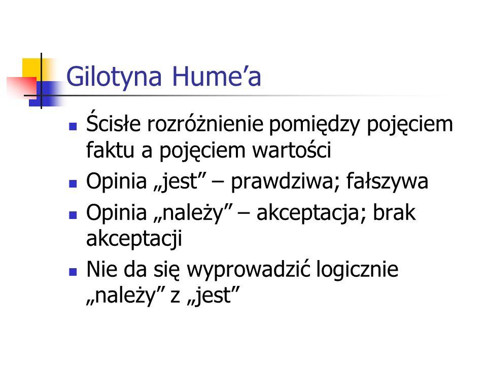 Gilotyna Humea Ścisłe rozróżnienie pomiędzy pojęciem faktu a pojęciem wartości Opinia jest – prawdziwa; fałszywa Opinia należy – akceptacja; brak akce