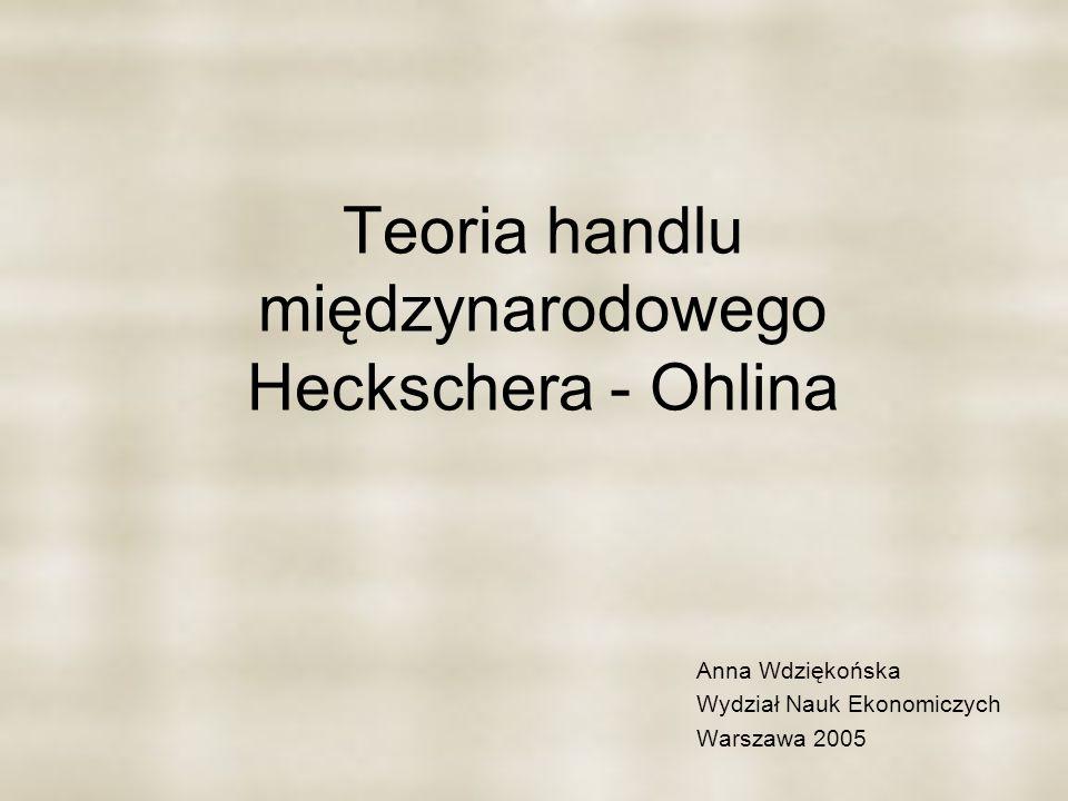 Teoria handlu międzynarodowego Heckschera - Ohlina Anna Wdziękońska Wydział Nauk Ekonomiczych Warszawa 2005