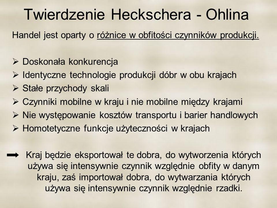 Twierdzenie Heckschera - Ohlina Handel jest oparty o różnice w obfitości czynników produkcji. Doskonała konkurencja Identyczne technologie produkcji d