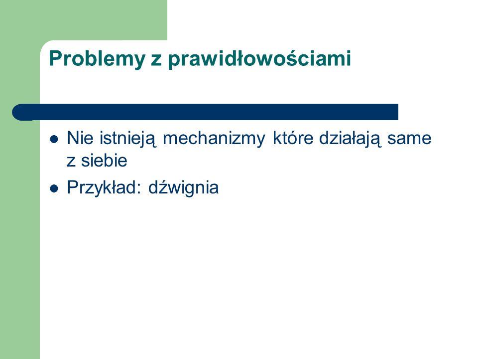 Problemy z prawidłowościami Nie istnieją mechanizmy które działają same z siebie Przykład: dźwignia