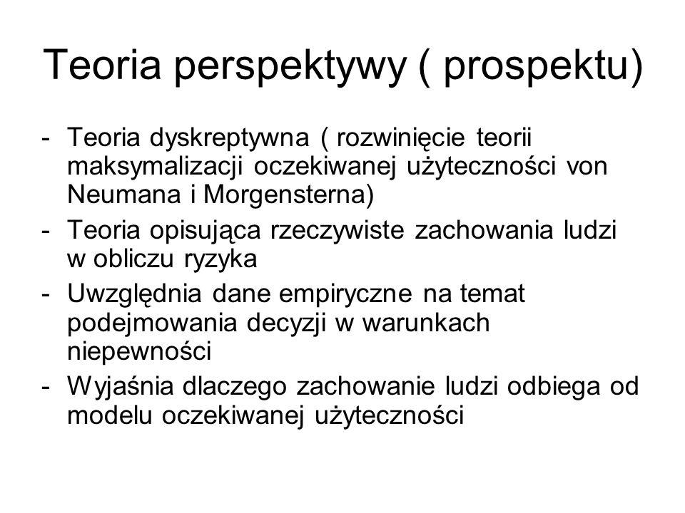 Teoria perspektywy ( prospektu) -Teoria dyskreptywna ( rozwinięcie teorii maksymalizacji oczekiwanej użyteczności von Neumana i Morgensterna) -Teoria
