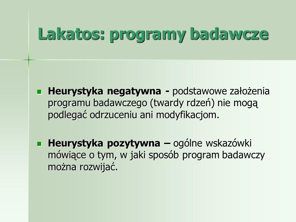 Lakatos: programy badawcze Heurystyka negatywna - podstawowe założenia programu badawczego (twardy rdzeń) nie mogą podlegać odrzuceniu ani modyfikacjo