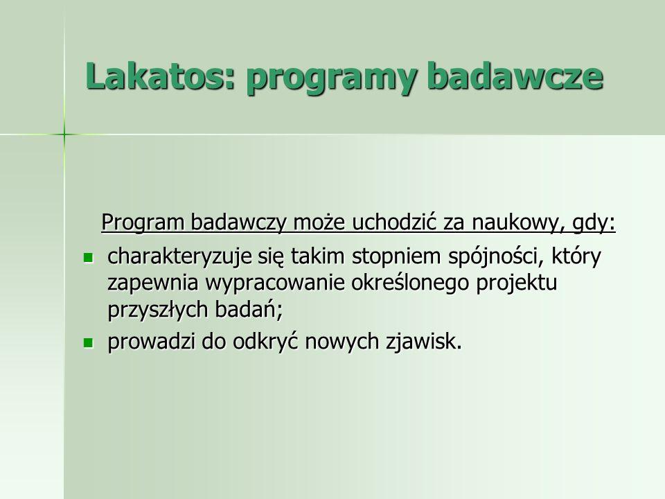 Lakatos: programy badawcze Program badawczy może uchodzić za naukowy, gdy: Program badawczy może uchodzić za naukowy, gdy: charakteryzuje się takim st