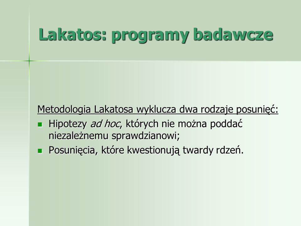 Lakatos: programy badawcze Metodologia Lakatosa wyklucza dwa rodzaje posunięć: Hipotezy ad hoc, których nie można poddać niezależnemu sprawdzianowi; H