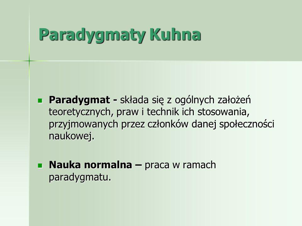 Paradygmaty Kuhna Paradygmat - składa się z ogólnych założeń teoretycznych, praw i technik ich stosowania, przyjmowanych przez członków danej społeczn