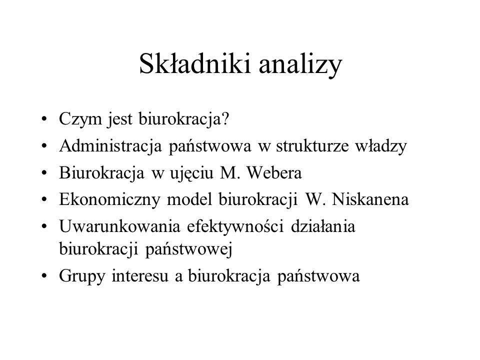 Składniki analizy Czym jest biurokracja.