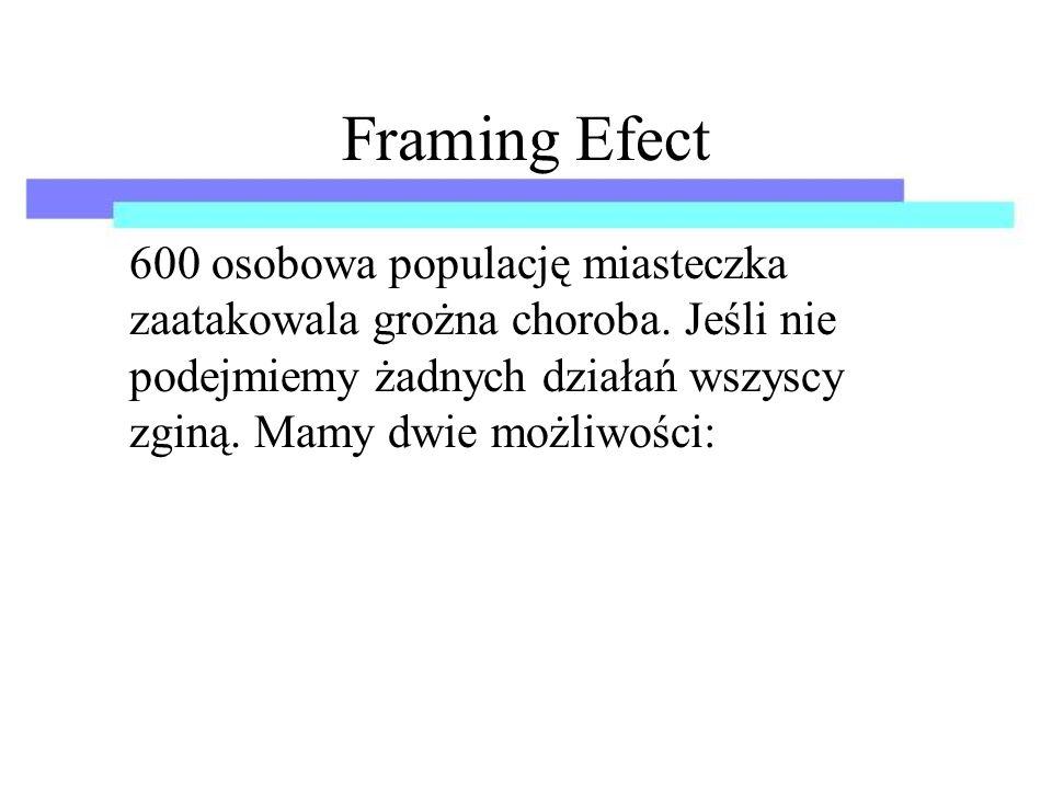 Framing Efect 600 osobowa populację miasteczka zaatakowala grożna choroba.