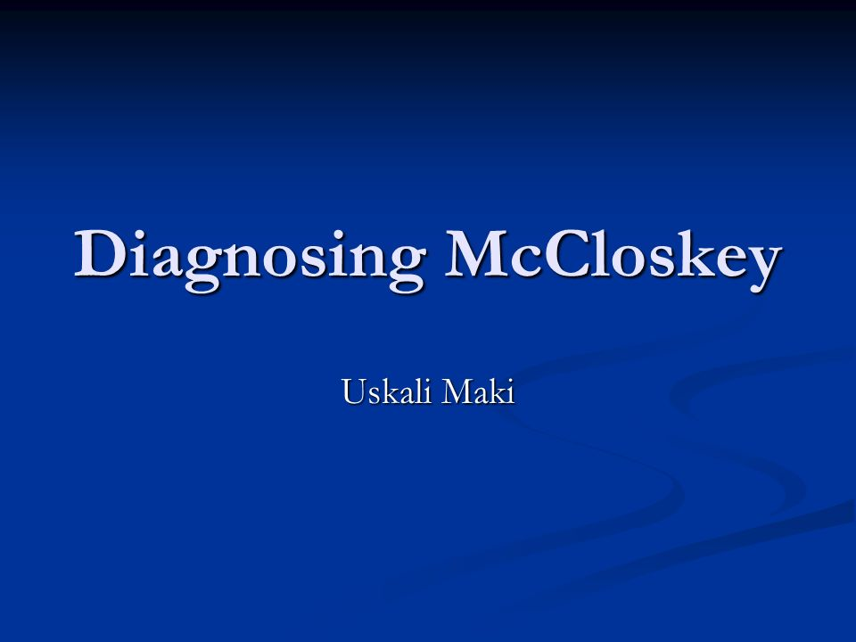 Diagnosing McCloskey Uskali Maki