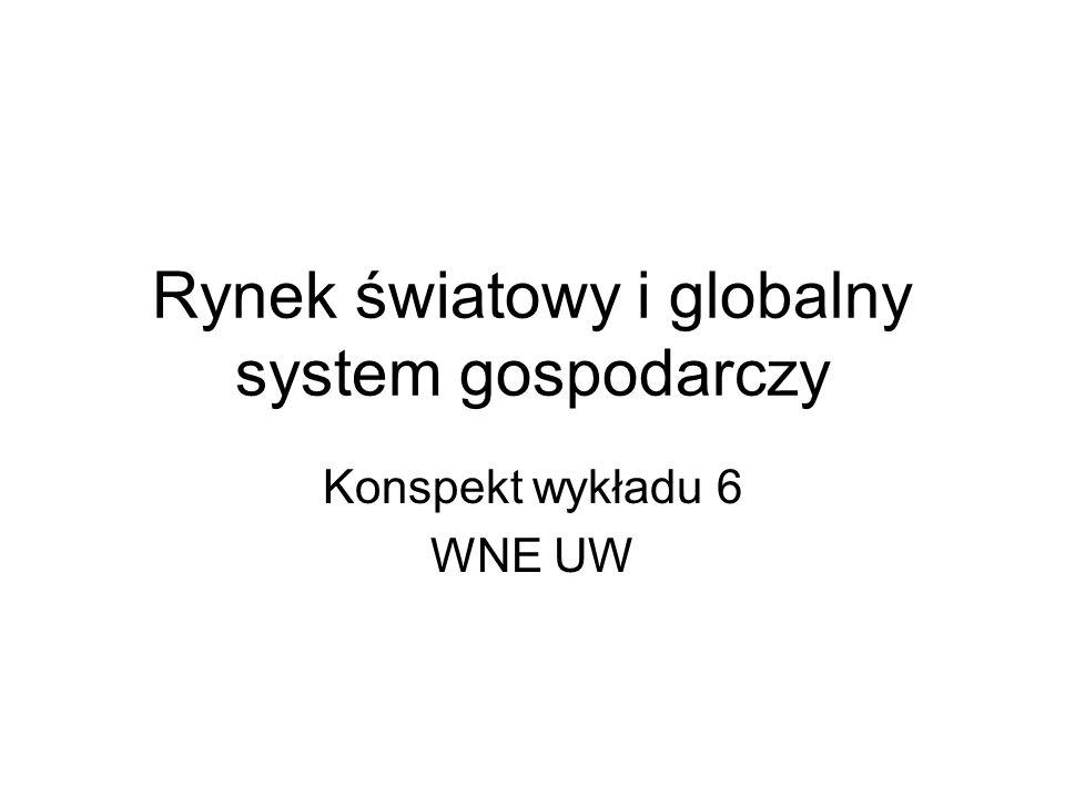 Rynek światowy i globalny system gospodarczy Konspekt wykładu 6 WNE UW