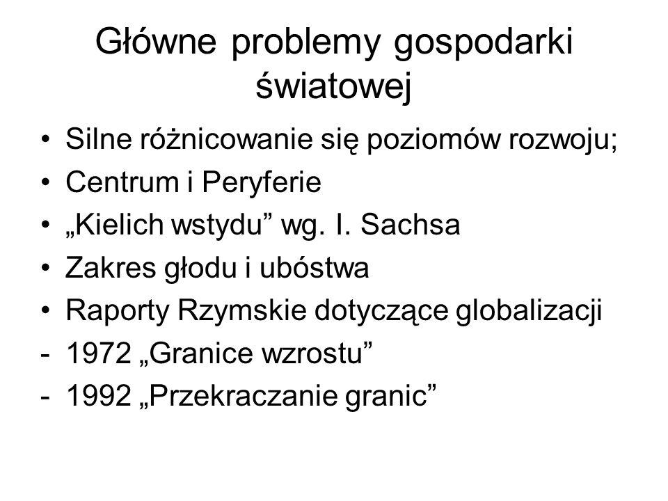 Główne problemy gospodarki światowej Silne różnicowanie się poziomów rozwoju; Centrum i Peryferie Kielich wstydu wg. I. Sachsa Zakres głodu i ubóstwa