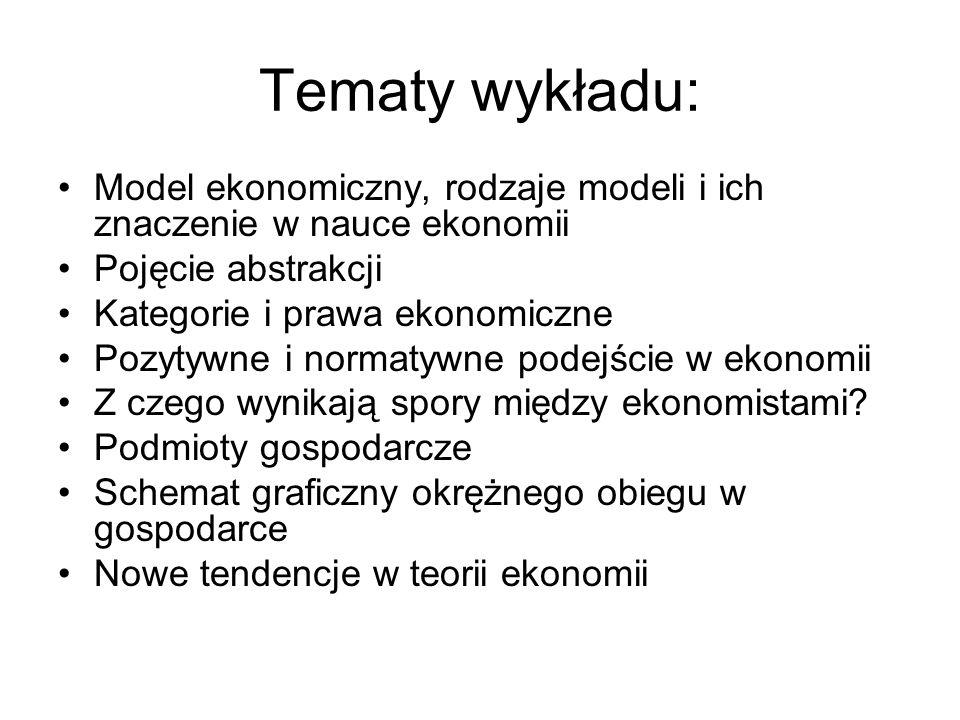 Tematy wykładu: Model ekonomiczny, rodzaje modeli i ich znaczenie w nauce ekonomii Pojęcie abstrakcji Kategorie i prawa ekonomiczne Pozytywne i normat