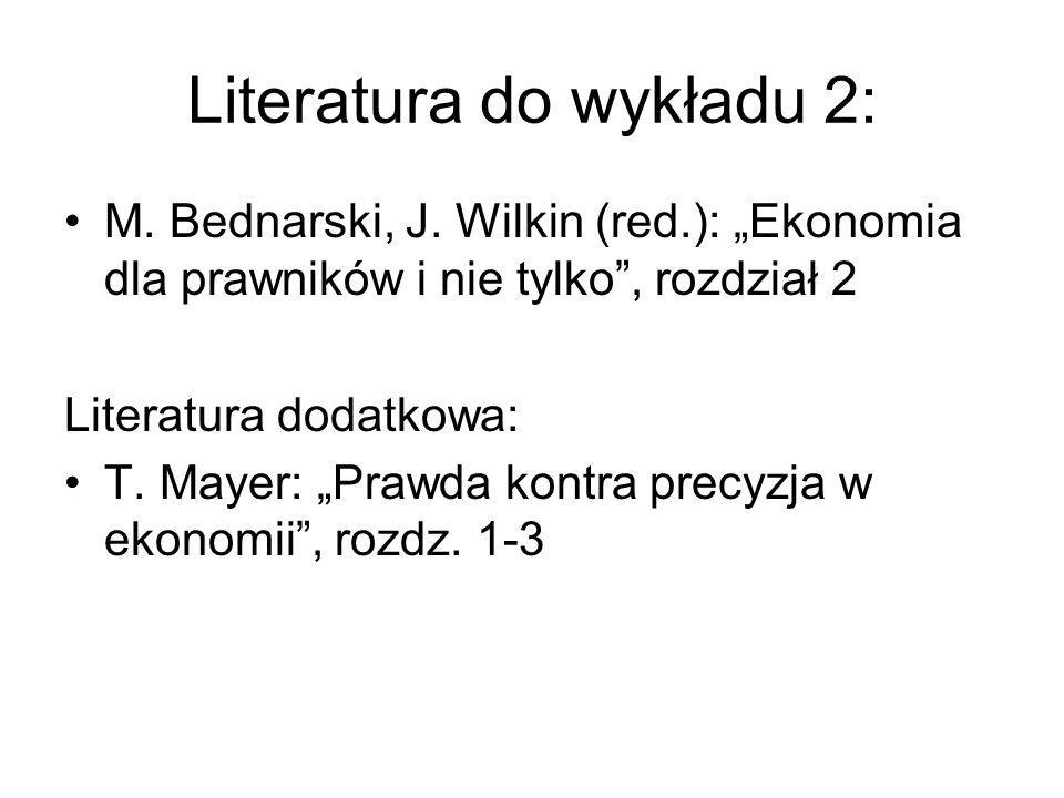 Literatura do wykładu 2: M. Bednarski, J. Wilkin (red.): Ekonomia dla prawników i nie tylko, rozdział 2 Literatura dodatkowa: T. Mayer: Prawda kontra