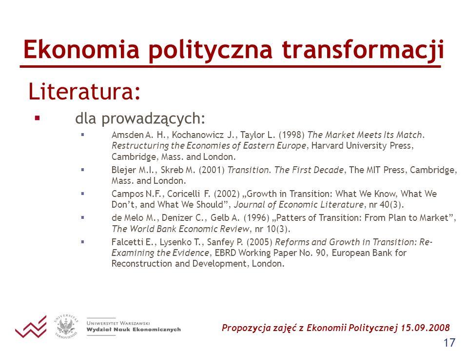 Propozycja zajęć z Ekonomii Politycznej 15.09.2008 17 Ekonomia polityczna transformacji Literatura: dla prowadzących: Amsden A. H., Kochanowicz J., Ta