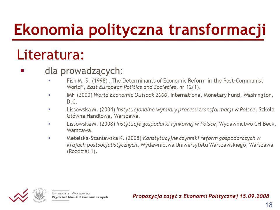 Propozycja zajęć z Ekonomii Politycznej 15.09.2008 18 Ekonomia polityczna transformacji Literatura: dla prowadzących: Fish M. S. (1998) The Determinan