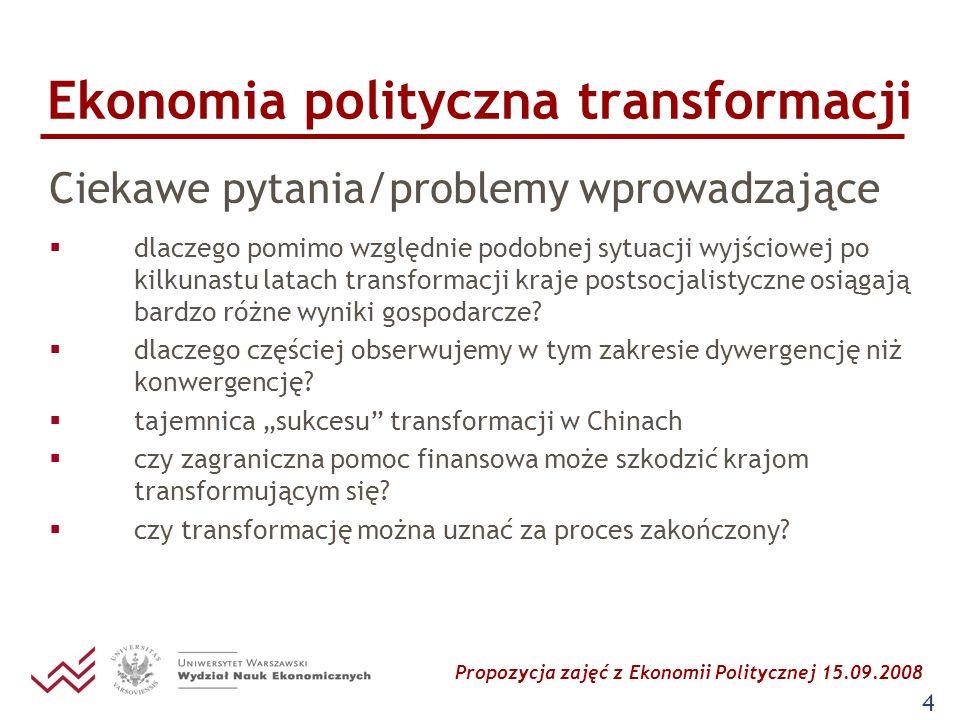 Propozycja zajęć z Ekonomii Politycznej 15.09.2008 15 Ekonomia polityczna transformacji Literatura: obowiązkowa dla studentów: Kochanowicz J.