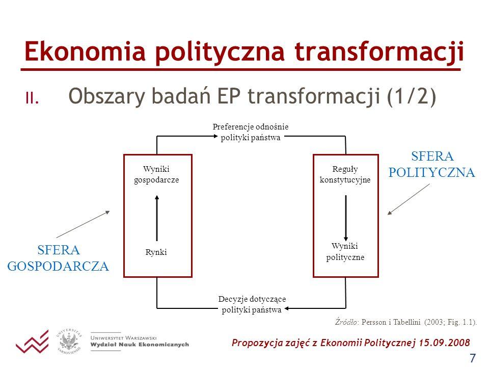 Propozycja zajęć z Ekonomii Politycznej 15.09.2008 7 Ekonomia polityczna transformacji II. Obszary badań EP transformacji (1/2) Preferencje odnośnie p