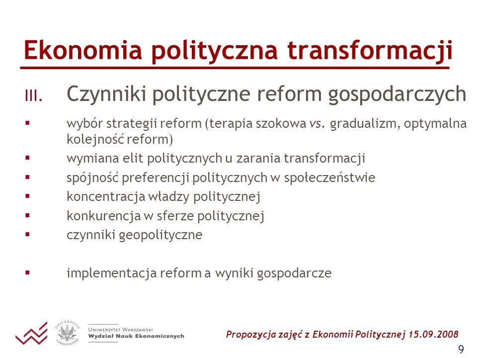 Propozycja zajęć z Ekonomii Politycznej 15.09.2008 9 Ekonomia polityczna transformacji III. Czynniki polityczne reform gospodarczych wybór strategii r
