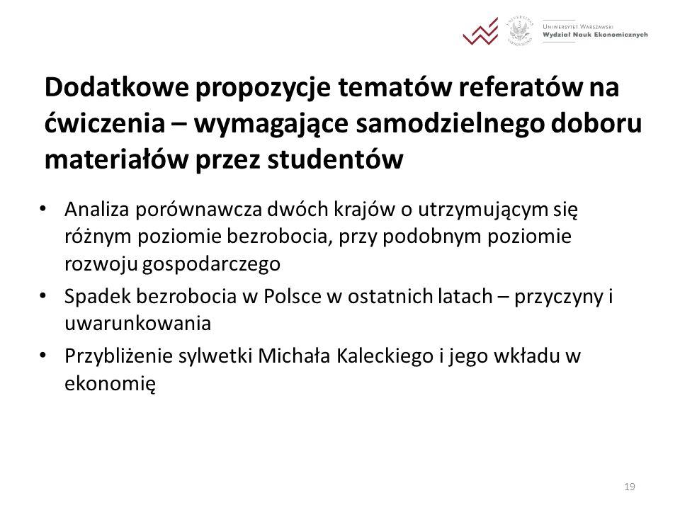 Dodatkowe propozycje tematów referatów na ćwiczenia – wymagające samodzielnego doboru materiałów przez studentów Analiza porównawcza dwóch krajów o ut
