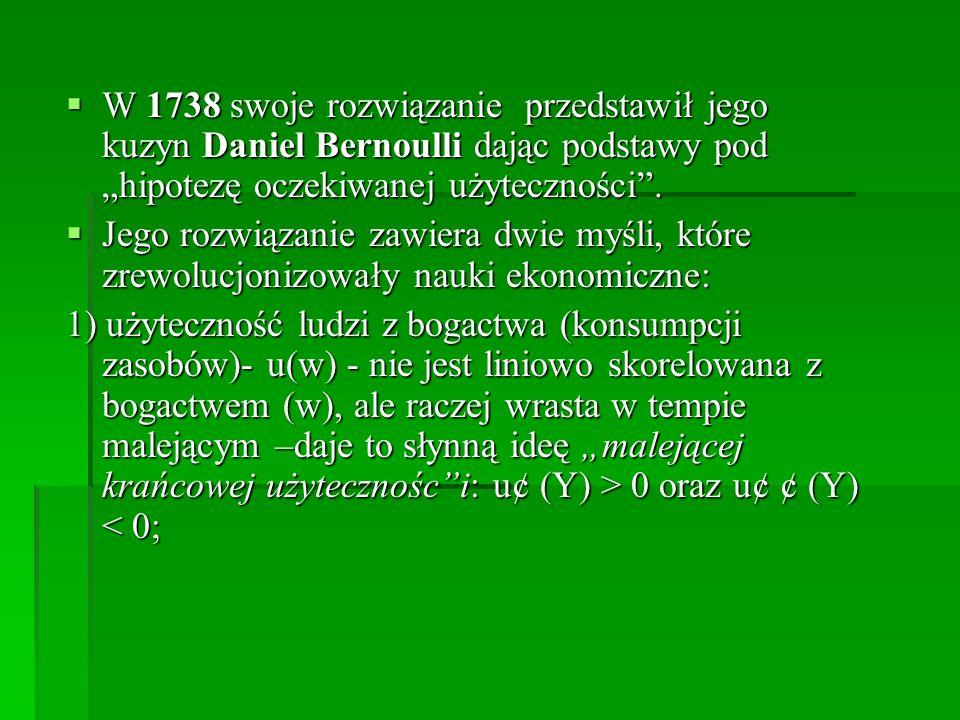 W 1738 swoje rozwiązanie przedstawił jego kuzyn Daniel Bernoulli dając podstawy pod hipotezę oczekiwanej użyteczności.