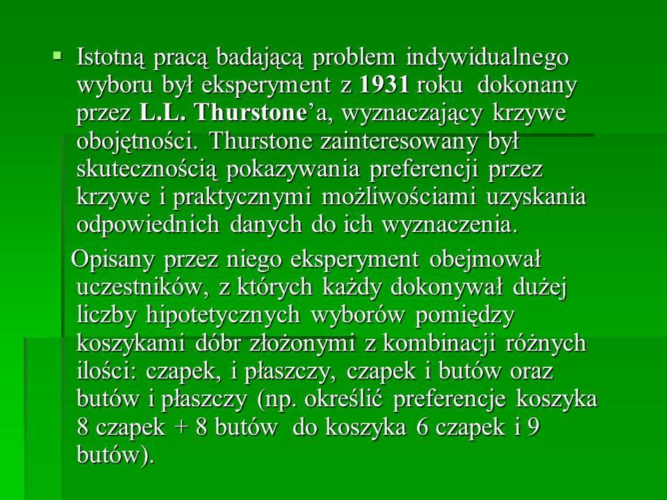 Istotną pracą badającą problem indywidualnego wyboru był eksperyment z 1931 roku dokonany przez L.L.