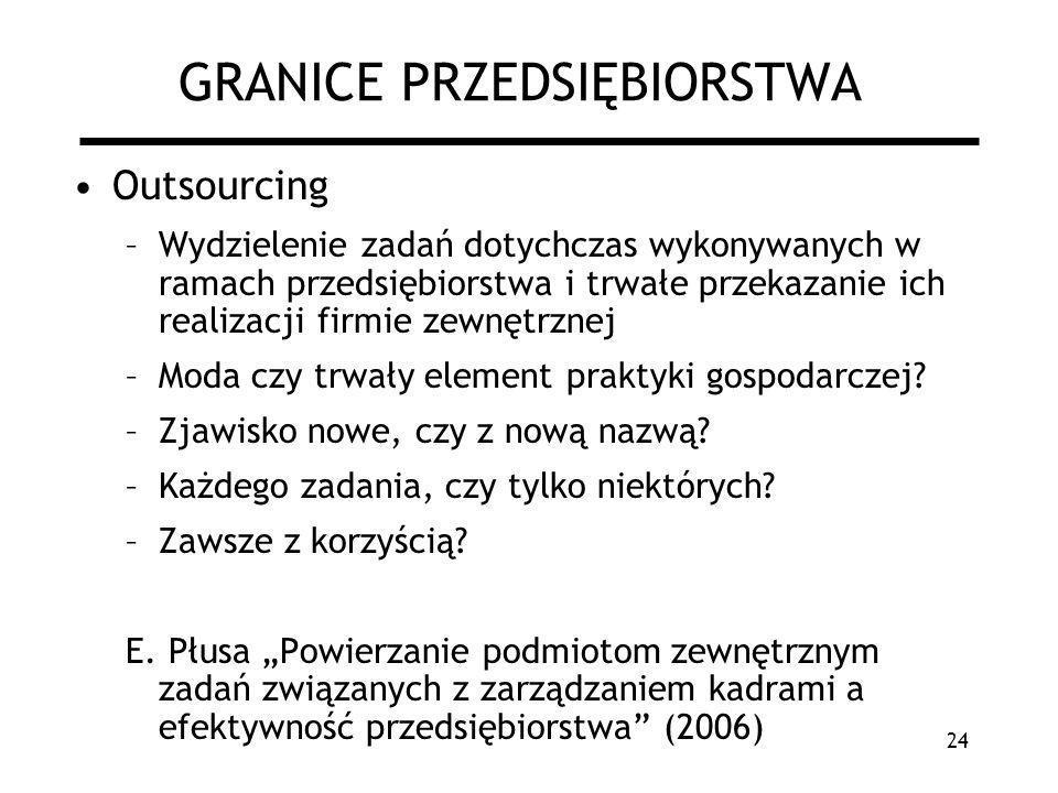 24 GRANICE PRZEDSIĘBIORSTWA Outsourcing –Wydzielenie zadań dotychczas wykonywanych w ramach przedsiębiorstwa i trwałe przekazanie ich realizacji firmi