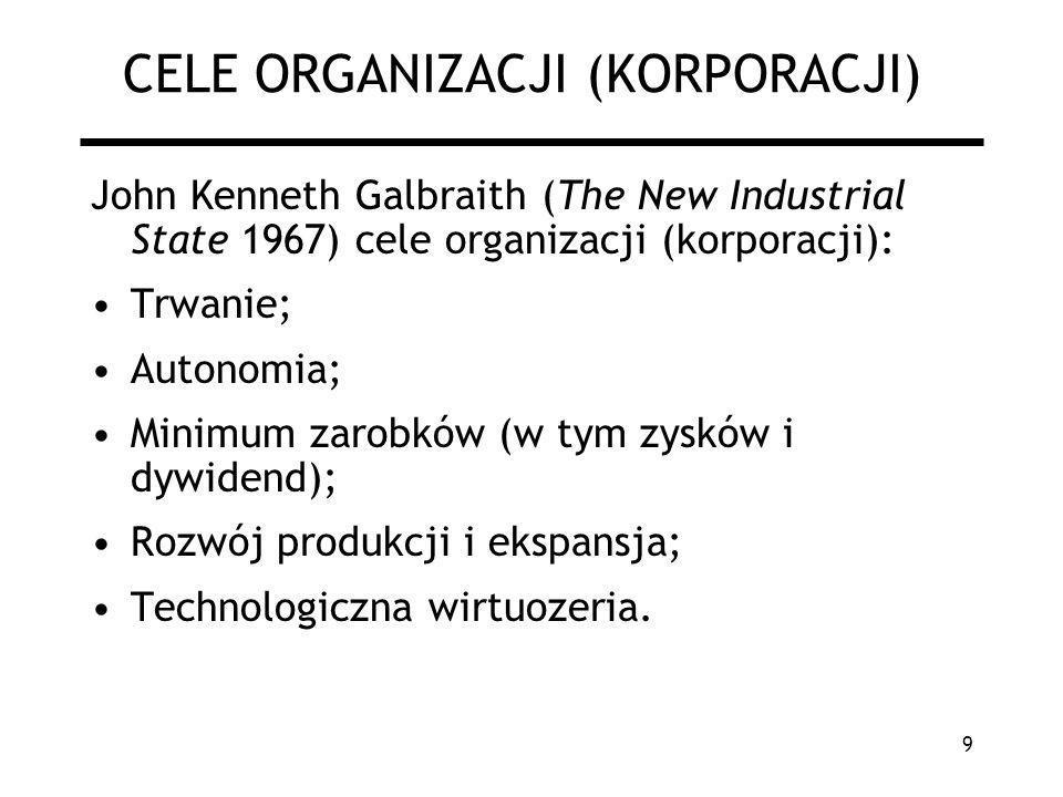 9 CELE ORGANIZACJI (KORPORACJI) John Kenneth Galbraith (The New Industrial State 1967) cele organizacji (korporacji): Trwanie; Autonomia; Minimum zaro