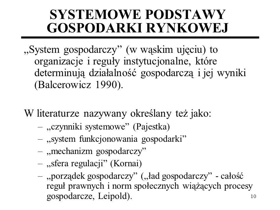 10 SYSTEMOWE PODSTAWY GOSPODARKI RYNKOWEJ System gospodarczy (w wąskim ujęciu) to organizacje i reguły instytucjonalne, które determinują działalność