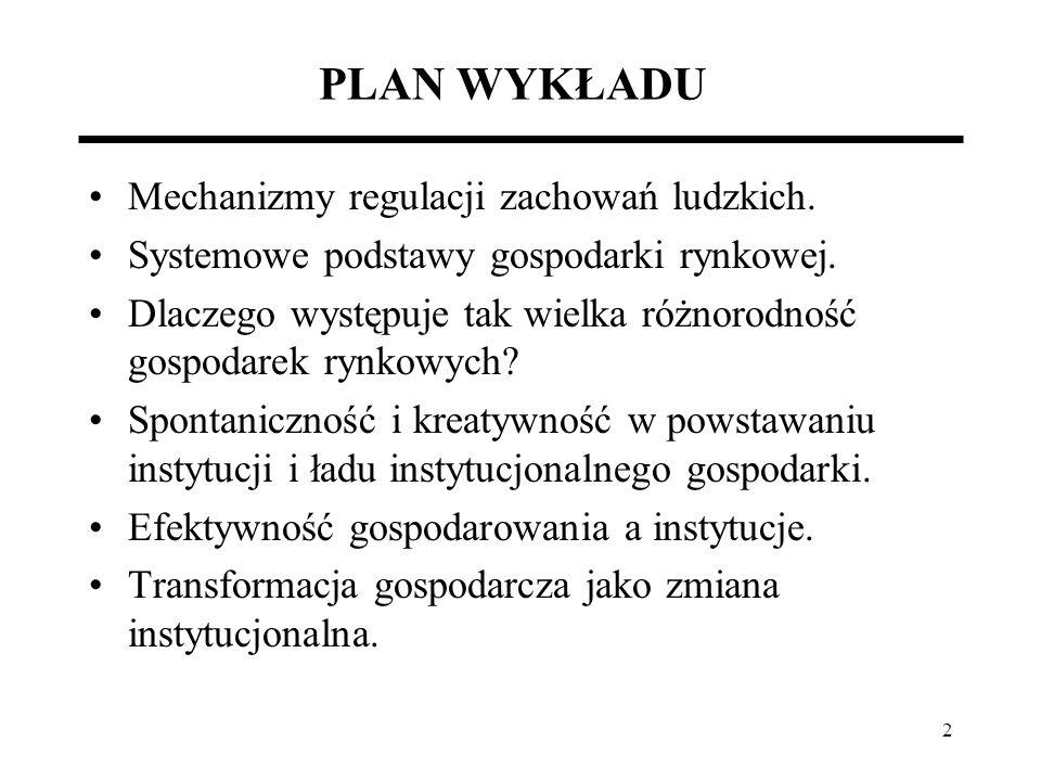 2 PLAN WYKŁADU Mechanizmy regulacji zachowań ludzkich. Systemowe podstawy gospodarki rynkowej. Dlaczego występuje tak wielka różnorodność gospodarek r