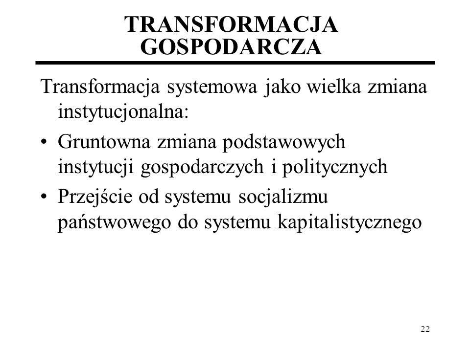 22 TRANSFORMACJA GOSPODARCZA Transformacja systemowa jako wielka zmiana instytucjonalna: Gruntowna zmiana podstawowych instytucji gospodarczych i poli