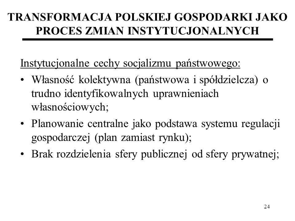 24 TRANSFORMACJA POLSKIEJ GOSPODARKI JAKO PROCES ZMIAN INSTYTUCJONALNYCH Instytucjonalne cechy socjalizmu państwowego: Własność kolektywna (państwowa