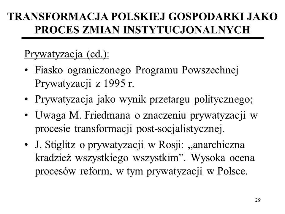 29 TRANSFORMACJA POLSKIEJ GOSPODARKI JAKO PROCES ZMIAN INSTYTUCJONALNYCH Prywatyzacja (cd.): Fiasko ograniczonego Programu Powszechnej Prywatyzacji z