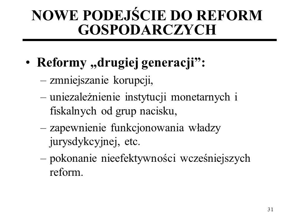 31 NOWE PODEJŚCIE DO REFORM GOSPODARCZYCH Reformy drugiej generacji: –zmniejszanie korupcji, –uniezależnienie instytucji monetarnych i fiskalnych od g