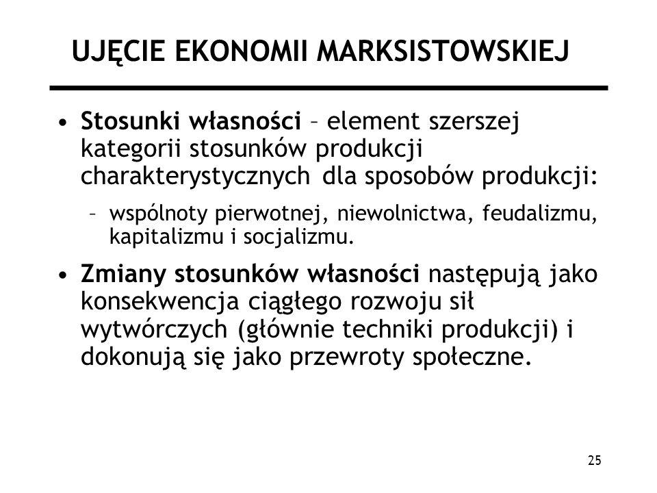 25 UJĘCIE EKONOMII MARKSISTOWSKIEJ Stosunki własności – element szerszej kategorii stosunków produkcji charakterystycznych dla sposobów produkcji: –ws