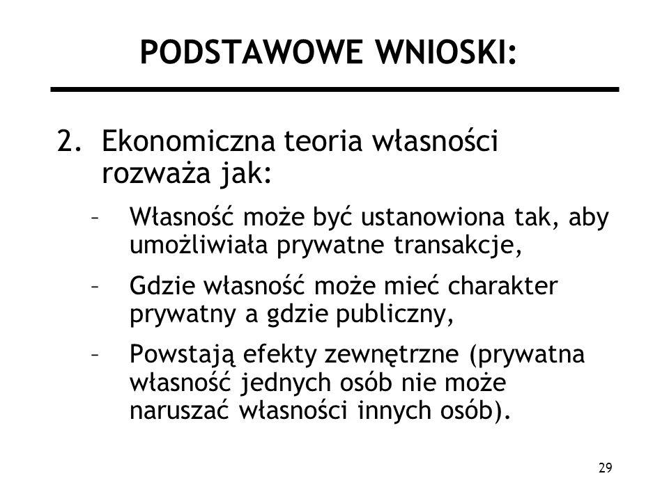 29 PODSTAWOWE WNIOSKI: 2.Ekonomiczna teoria własności rozważa jak: –Własność może być ustanowiona tak, aby umożliwiała prywatne transakcje, –Gdzie wła
