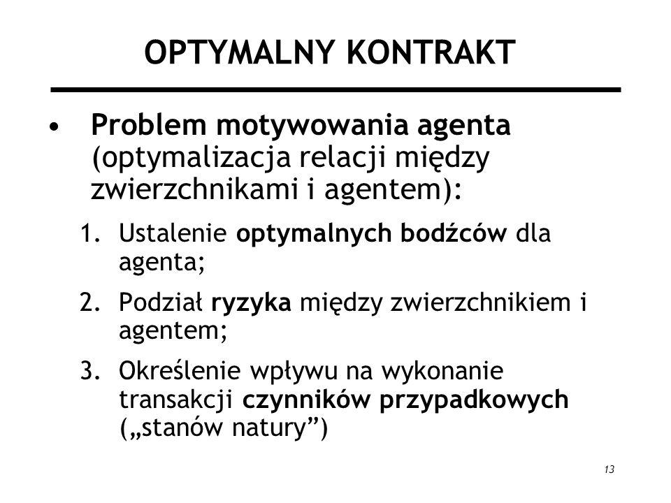 13 OPTYMALNY KONTRAKT Problem motywowania agenta (optymalizacja relacji między zwierzchnikami i agentem): 1.Ustalenie optymalnych bodźców dla agenta;