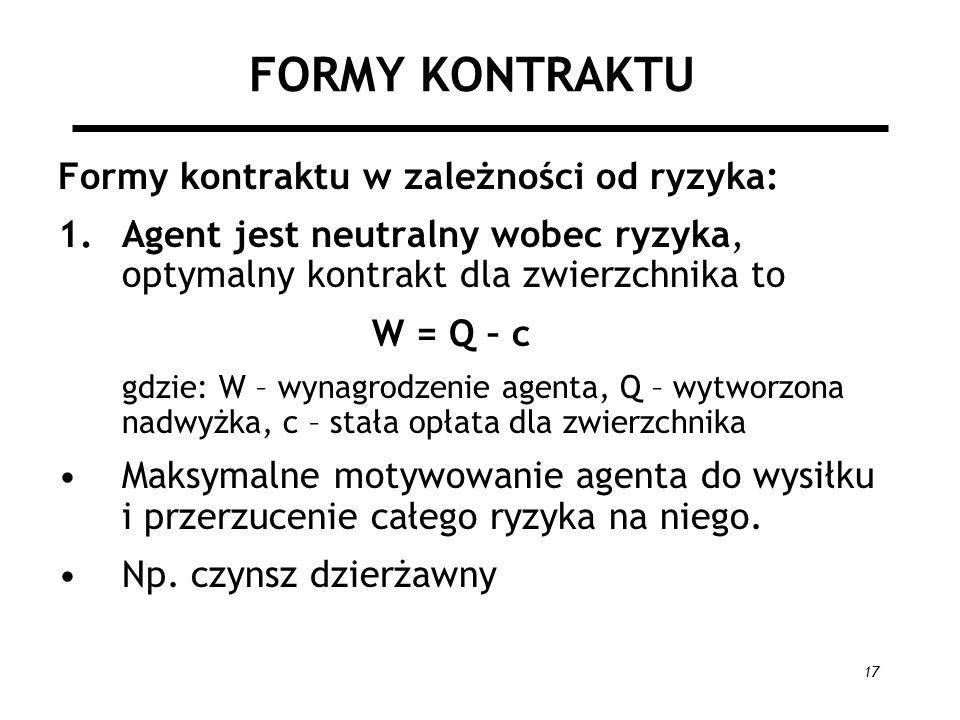 17 FORMY KONTRAKTU Formy kontraktu w zależności od ryzyka: 1.Agent jest neutralny wobec ryzyka, optymalny kontrakt dla zwierzchnika to W = Q – c gdzie