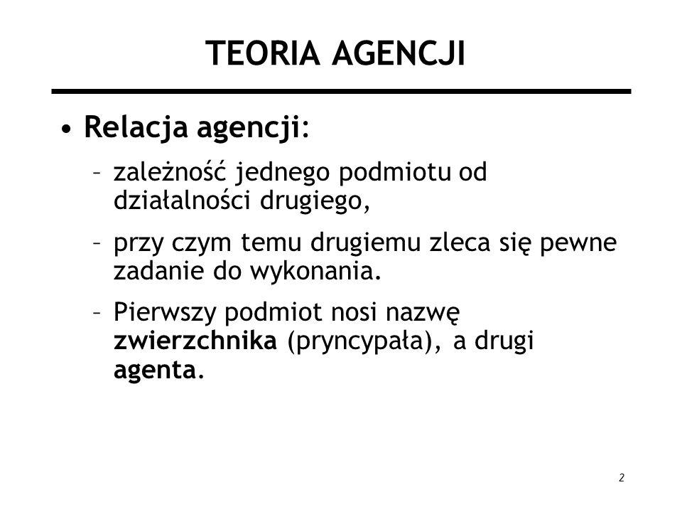 2 TEORIA AGENCJI Relacja agencji: –zależność jednego podmiotu od działalności drugiego, –przy czym temu drugiemu zleca się pewne zadanie do wykonania.