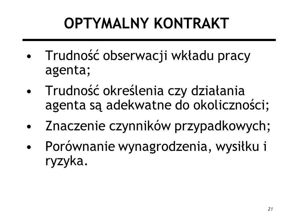 21 OPTYMALNY KONTRAKT Trudność obserwacji wkładu pracy agenta; Trudność określenia czy działania agenta są adekwatne do okoliczności; Znaczenie czynni