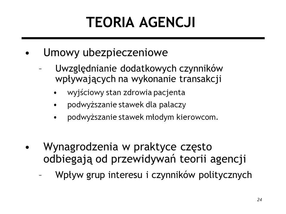 24 TEORIA AGENCJI Umowy ubezpieczeniowe –Uwzględnianie dodatkowych czynników wpływających na wykonanie transakcji wyjściowy stan zdrowia pacjenta podw