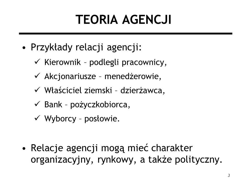 3 TEORIA AGENCJI Przykłady relacji agencji: Kierownik – podlegli pracownicy, Akcjonariusze – menedżerowie, Właściciel ziemski – dzierżawca, Bank – poż