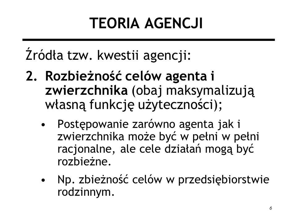 17 FORMY KONTRAKTU Formy kontraktu w zależności od ryzyka: 1.Agent jest neutralny wobec ryzyka, optymalny kontrakt dla zwierzchnika to W = Q – c gdzie: W – wynagrodzenie agenta, Q – wytworzona nadwyżka, c – stała opłata dla zwierzchnika Maksymalne motywowanie agenta do wysiłku i przerzucenie całego ryzyka na niego.
