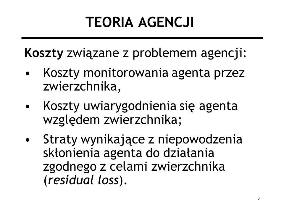 7 TEORIA AGENCJI Koszty związane z problemem agencji: Koszty monitorowania agenta przez zwierzchnika, Koszty uwiarygodnienia się agenta względem zwier