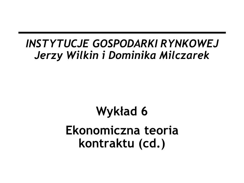 INSTYTUCJE GOSPODARKI RYNKOWEJ Jerzy Wilkin i Dominika Milczarek Wykład 6 Ekonomiczna teoria kontraktu (cd.)