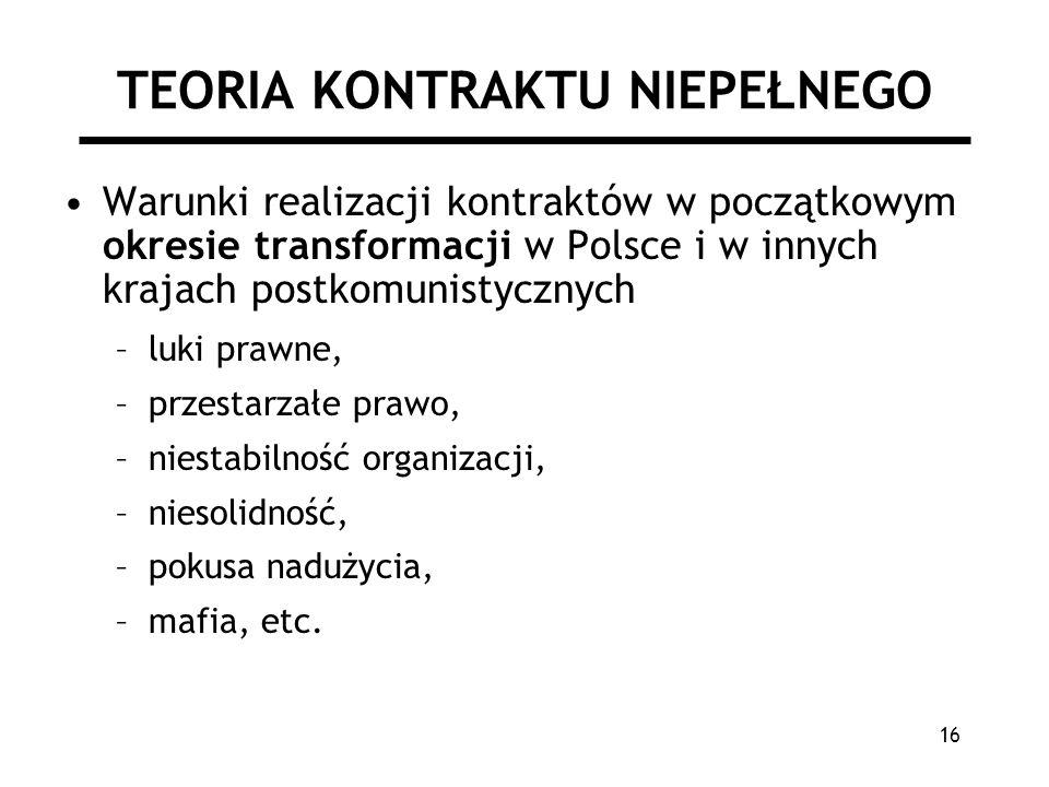 16 TEORIA KONTRAKTU NIEPEŁNEGO Warunki realizacji kontraktów w początkowym okresie transformacji w Polsce i w innych krajach postkomunistycznych –luki