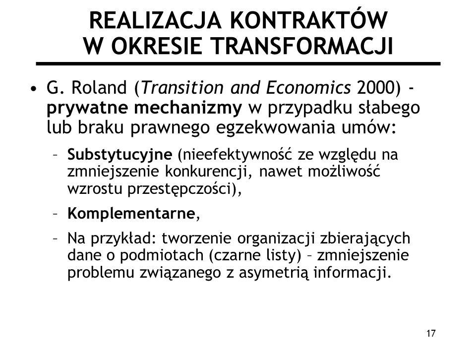 17 REALIZACJA KONTRAKTÓW W OKRESIE TRANSFORMACJI G. Roland (Transition and Economics 2000) - prywatne mechanizmy w przypadku słabego lub braku prawneg
