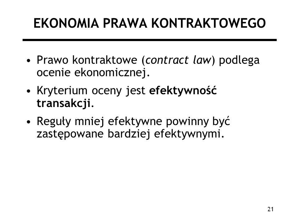 21 EKONOMIA PRAWA KONTRAKTOWEGO Prawo kontraktowe (contract law) podlega ocenie ekonomicznej. Kryterium oceny jest efektywność transakcji. Reguły mnie