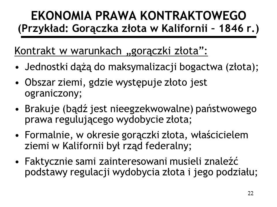 22 EKONOMIA PRAWA KONTRAKTOWEGO (Przykład: Gorączka złota w Kalifornii – 1846 r.) Kontrakt w warunkach gorączki złota: Jednostki dążą do maksymalizacj