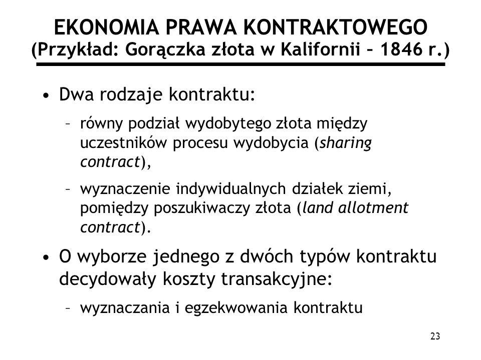 23 EKONOMIA PRAWA KONTRAKTOWEGO (Przykład: Gorączka złota w Kalifornii – 1846 r.) Dwa rodzaje kontraktu: –równy podział wydobytego złota między uczest