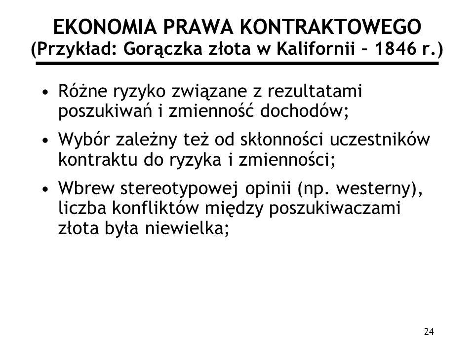 24 EKONOMIA PRAWA KONTRAKTOWEGO (Przykład: Gorączka złota w Kalifornii – 1846 r.) Różne ryzyko związane z rezultatami poszukiwań i zmienność dochodów;