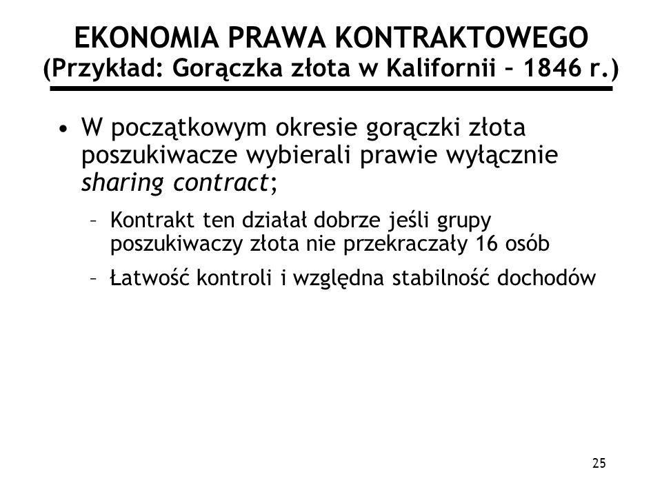 25 EKONOMIA PRAWA KONTRAKTOWEGO (Przykład: Gorączka złota w Kalifornii – 1846 r.) W początkowym okresie gorączki złota poszukiwacze wybierali prawie w